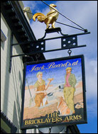 view of Bricklayers Arms pub sign