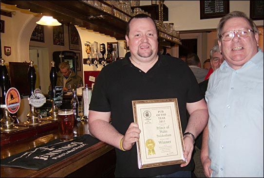 PotY 2011 presentation to Gavin Norman  at the Prince of Wales on the 1st Dec